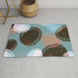 Graphic Seed Pods Turquoise and Brown Rug