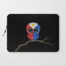 Baby Owl with Glasses and Filipino Flag Laptop Sleeve
