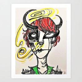 """Cute, Abstract Demon Girl Design. """"Horrid Little Pistols (#1) Valerie"""" Art Print"""