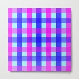 blue pink checks Metal Print