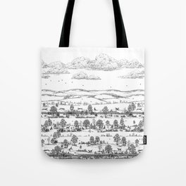 GREYHOUND TOILE LANDSCAPE  drawing Tote Bag