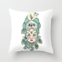 anxiety Throw Pillows featuring Anxiety by Melissa Smets