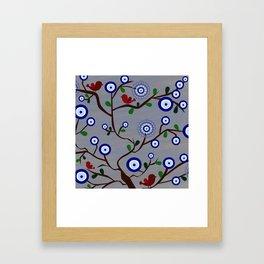 Lucky Evil Eye Bird Tree Framed Art Print