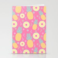 pinapple Stationery Cards featuring Pink Pinapple by KattyB