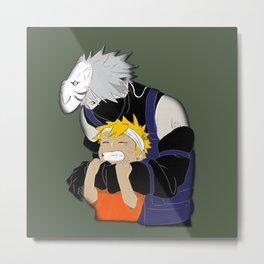 Kakashi hug Naruto Uzumaki Metal Print