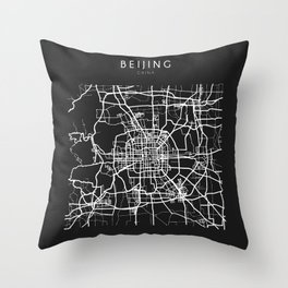 Beijing, China Street Map Throw Pillow