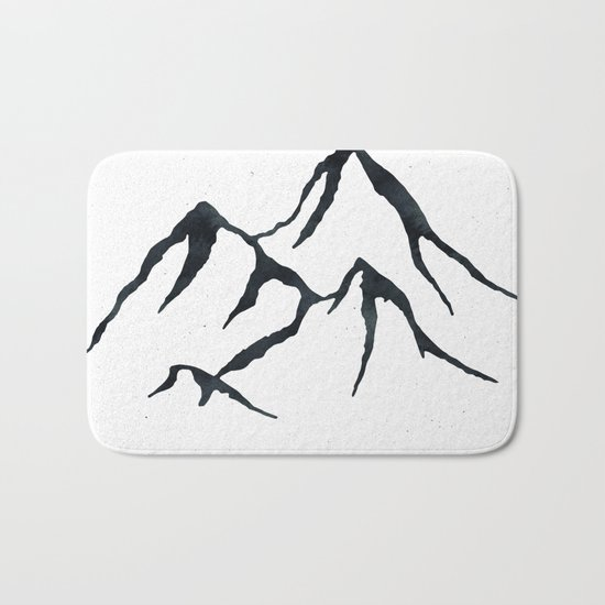 MOUNTAINS Black and White Bath Mat