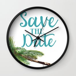 Save the Date hammock on a palm Wall Clock