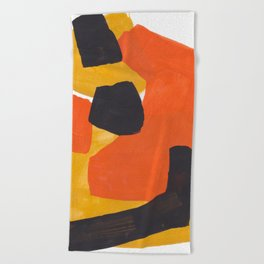 Minimalist Abstract Colorful Shapes Yellow Orange Black Mid Century Art Beach Towel