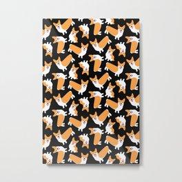 Crazy Corgis Cute Puppy Dog Pattern Metal Print
