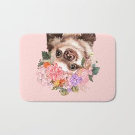 Baby Sloth with Flowers Crown in Pink Bath Mat