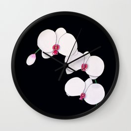 Trois Orchids and a Bud Wall Clock