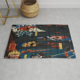 Warriors On The Field Traditional Japanese Characters Rug