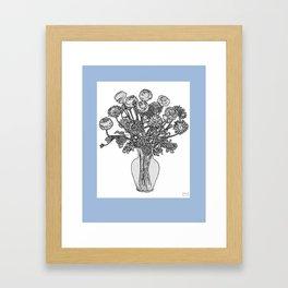 Spring Flowers in Vase on Robin's Egg Blue Background Framed Art Print