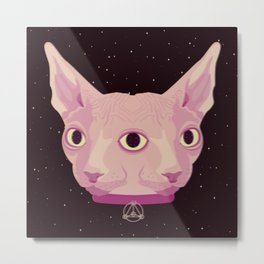 Two-Faced Sphynx From Outer Space Metal Print
