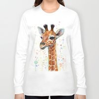 giraffe Long Sleeve T-shirts featuring Giraffe Baby by Olechka