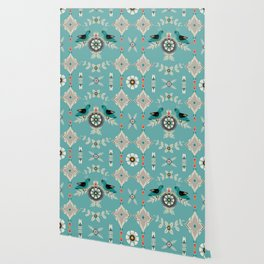 Scandi Bird Floral Turquoise Wallpaper