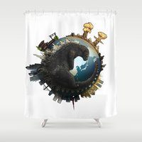 godzilla Shower Curtains featuring Godzilla by Alessandro Spedicato