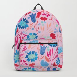 Gouache Floral no.2 | Red & Blue Backpack