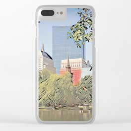 Boston Skyline from City Park Clear iPhone Case