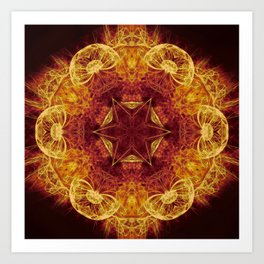 Magical glowing fractal mandala Art Print
