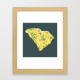South Carolina in Flowers Framed Art Print