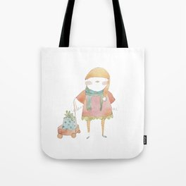 Bird Elf with a Gift Tote Bag