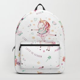 Elegant pink teal turquoise watercolor cute unicorn typography Backpack
