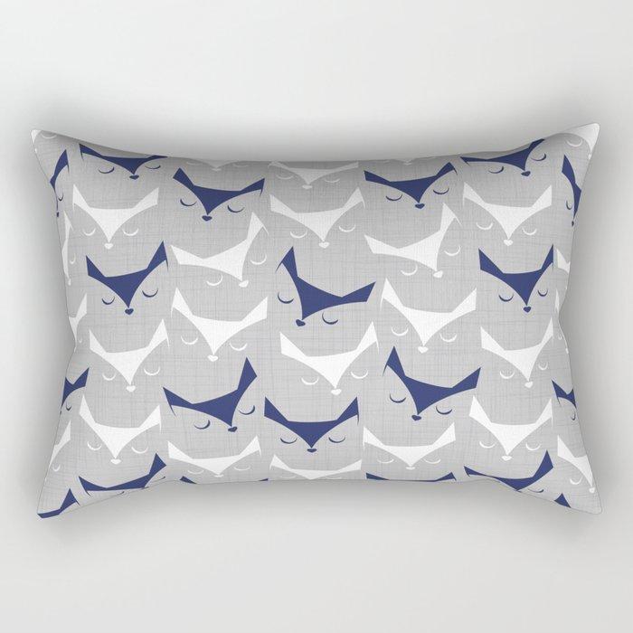 Cat alert // grey linen texture background Rectangular Pillow