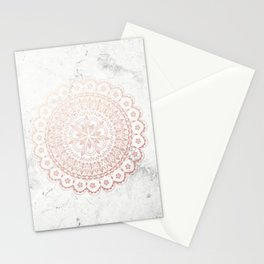 Rose gold mandala and grey marble Stationery Cards