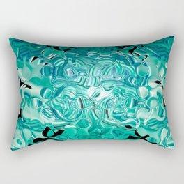 Turquoise Tear Drop Texture Abstract Rectangular Pillow