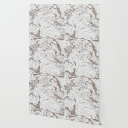White frost - rose gold marble Wallpaper