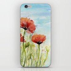 Red Flowers Watercolor Landscape Poppies Poppy Field iPhone & iPod Skin