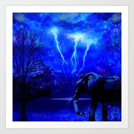 ELEPHANT LIGHTNING AND AFRICAN NIGHTS Art Print
