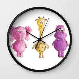 Colourful animals Wall Clock