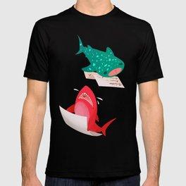 Pink Shark and Whale Shark T-shirt