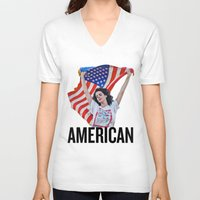 american V-neck T-shirts featuring American by Brandon Gendron