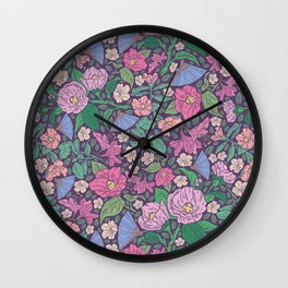 Winter roses with azalea and blue fans on dark background Wall Clock