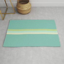 Treble Stripe in Aqua Blue and Lime Green. Minimalist Pattern Rug