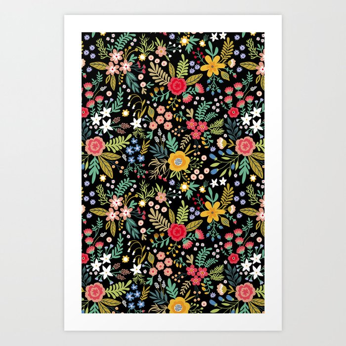 Amazing floral pattern with bright colorful flowers, plants, branches and berries on a black backgro Kunstdrucke