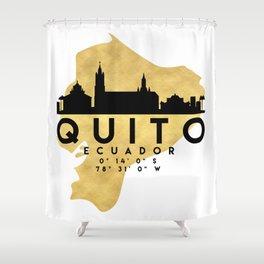 QUITO ECUADOR SILHOUETTE SKYLINE MAP ART Shower Curtain