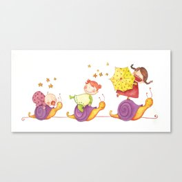 Babies in a snails Canvas Print