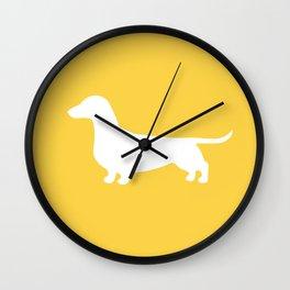 Dachshund (on Yellow) Wall Clock