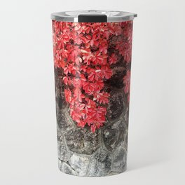 Pink red ivy leaves autumn stone wall Travel Mug