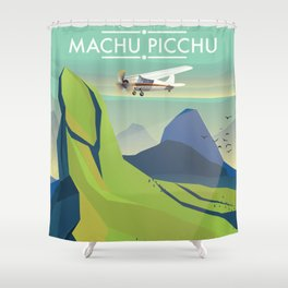 machu picchu travel poster Shower Curtain
