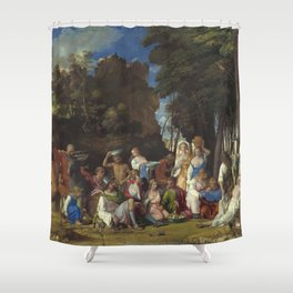 Giovanni Bellini and Titian The Feast of the Gods 1514 1529 Painting Shower Curtain
