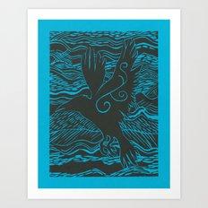 Turquoise Crow Art Print