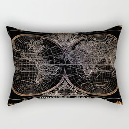 world map old vintage black Rectangular Pillow