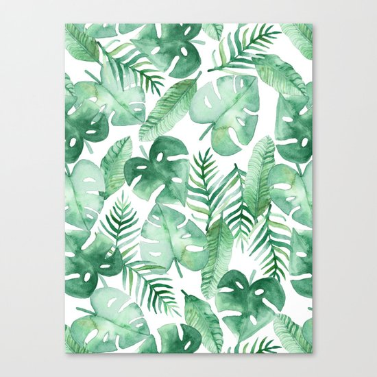 Tropical Jungle on White Canvas Print
