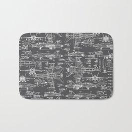 F-18 Blueprints // Charcoal-Grey Bath Mat